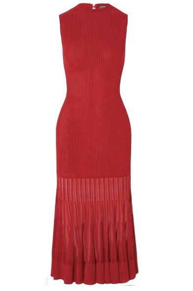 Alexander McQueen Mesh-paneled ribbed dress Preview Images