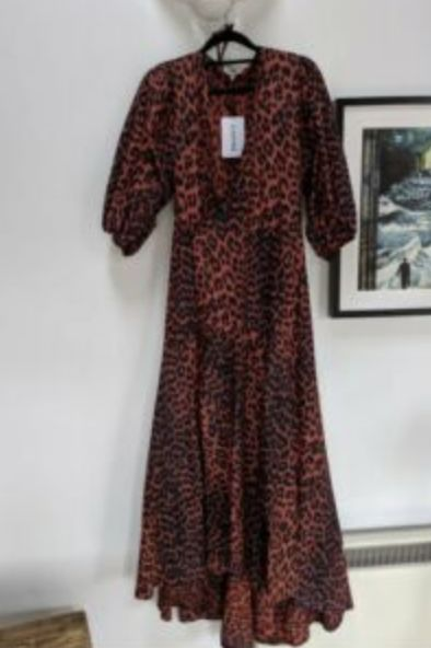 Ganni Red Leopard Midi Dress 3