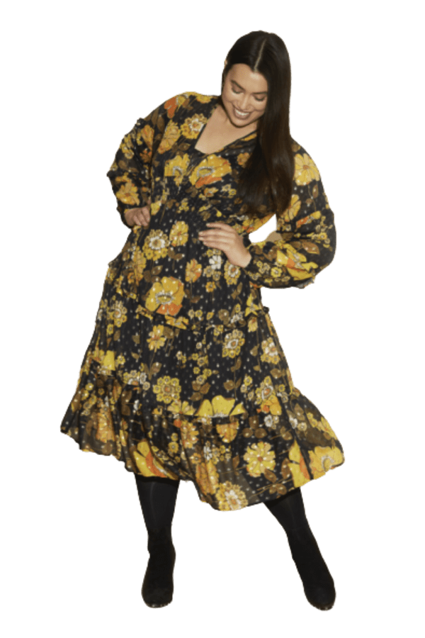 Anna Scholz Yellow Poppy Midi Dress 0 Preview Images