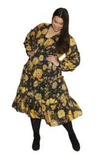 Anna Scholz Yellow Poppy Midi Dress Preview Images