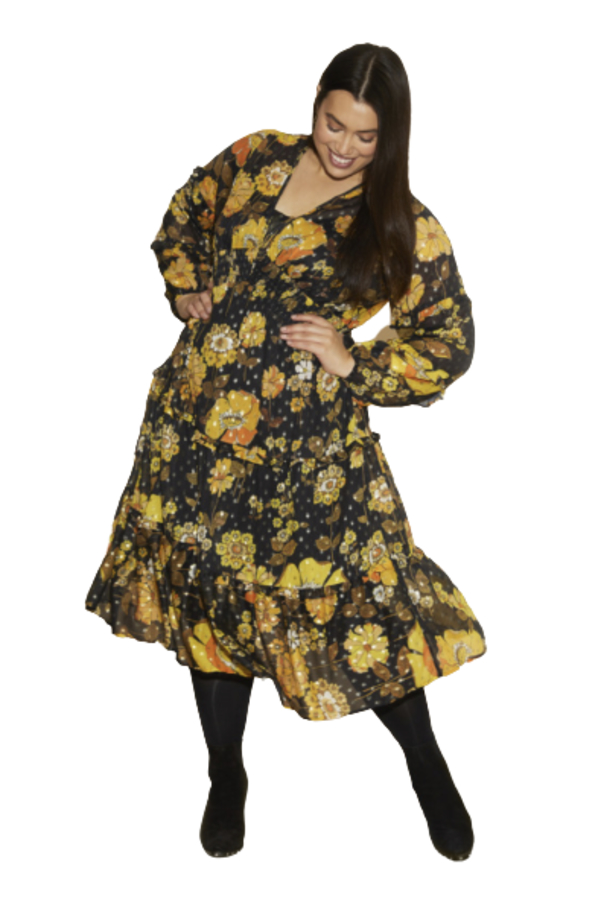 Anna Scholz Yellow Poppy Midi Dress