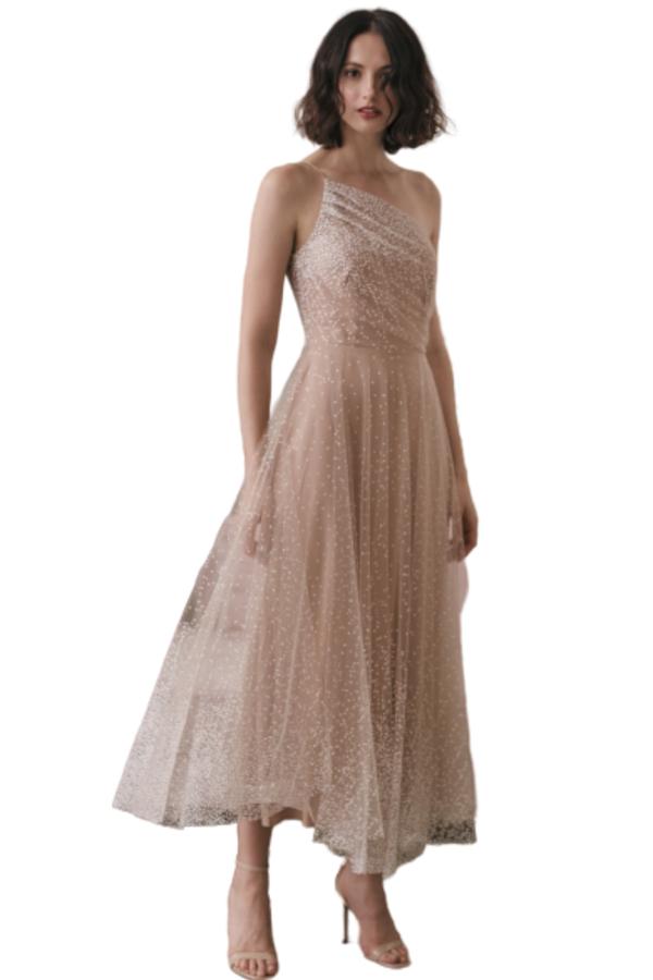 Sau Lee Blanche Ombre Tulle Midi Dress