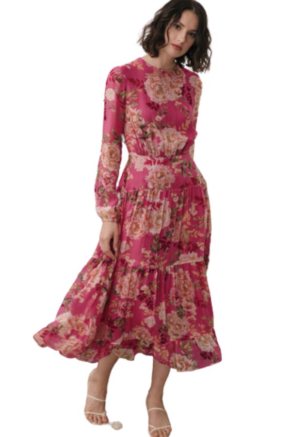 Sau Lee Faith Silk Chiffon Dress