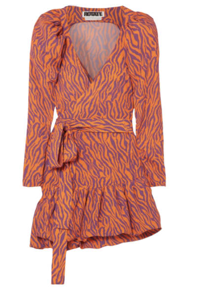 Rotate Birger Christensen Zebra Print Twill Dress