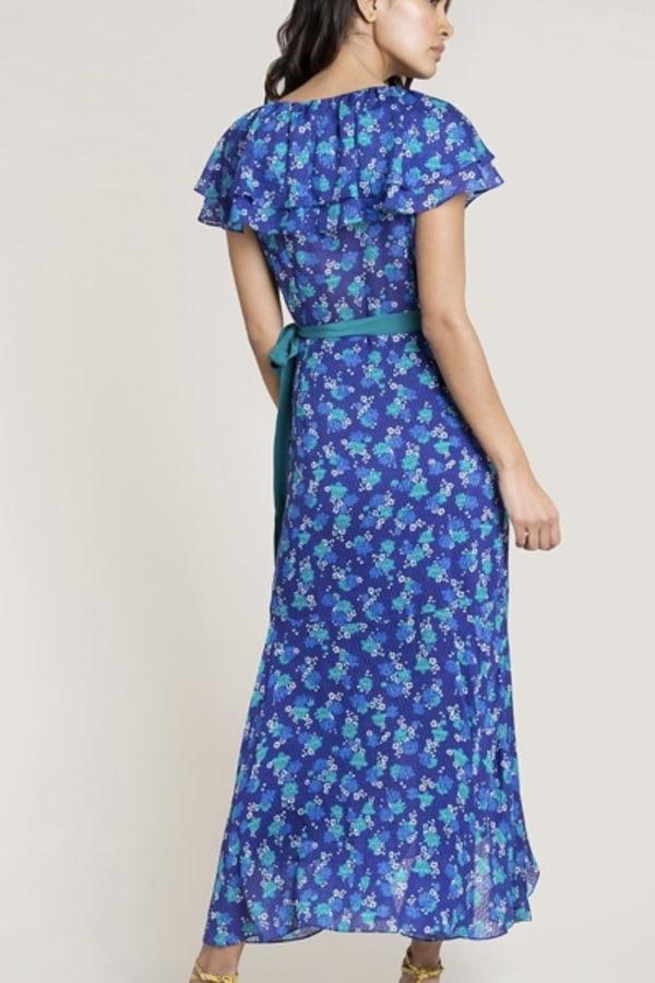 Image 3 of Beulah London ratna blue floral wrap dress