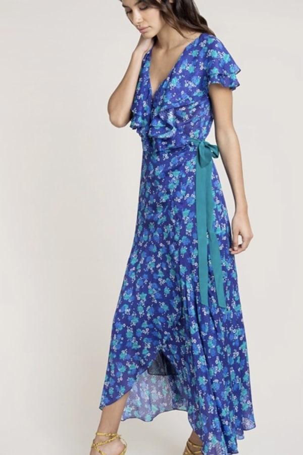 Image 2 of Beulah London ratna blue floral wrap dress