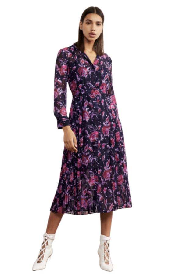 Kitri Gabriella Purple Pleated Shirt Dress