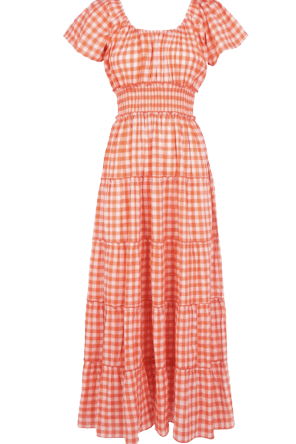 Image 1 of Pink City Prints gingham rah rah dress