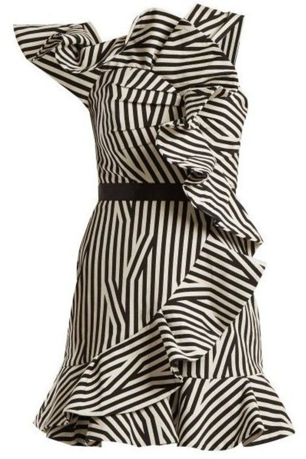 Self Portrait One Shoulder Striped Ruffle  0 Preview Images