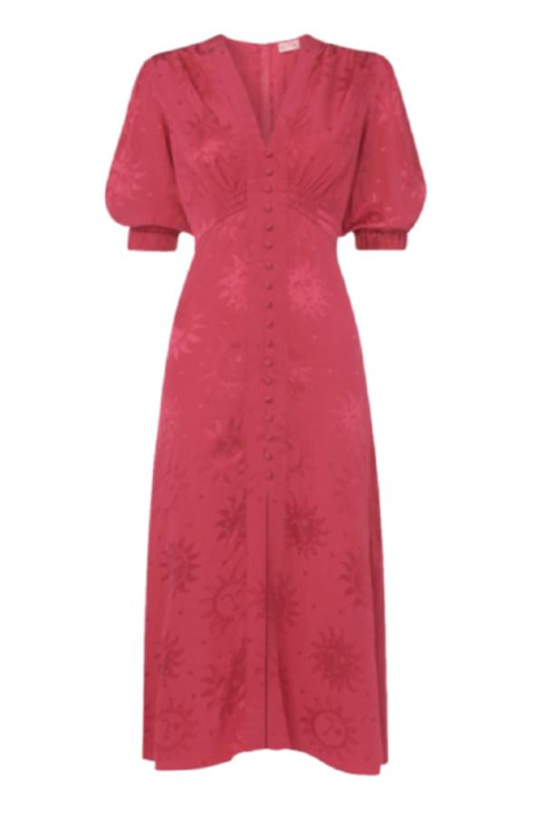 Kitri Pink floral satin midi dress 0 Preview Images