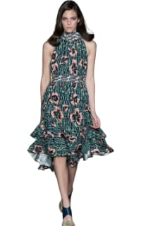 Matthew Williamson Climbing Hibiscus Silk Tie Neck Dress Preview Images