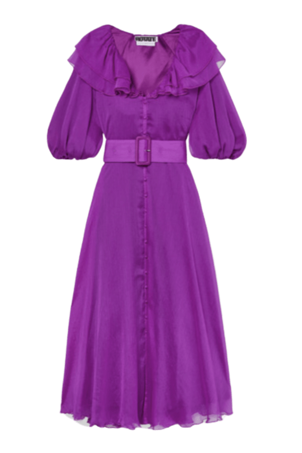 Rotate Purple Ruffle Belted Dress 0 Preview Images