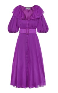 Rotate Purple Ruffle Belted Dress Preview Images