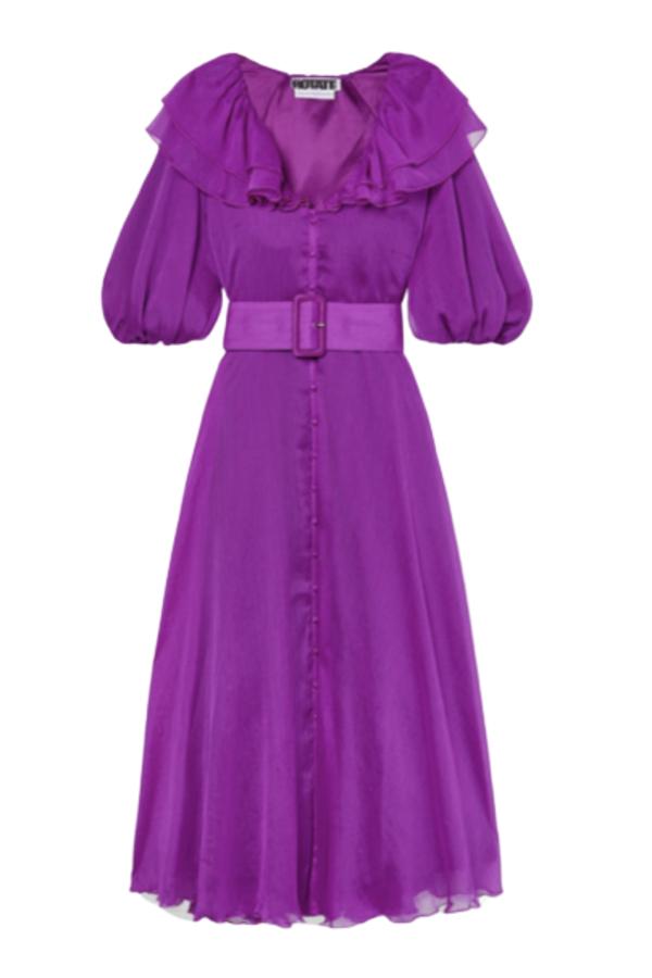 Rotate Purple Ruffle Belted Dress