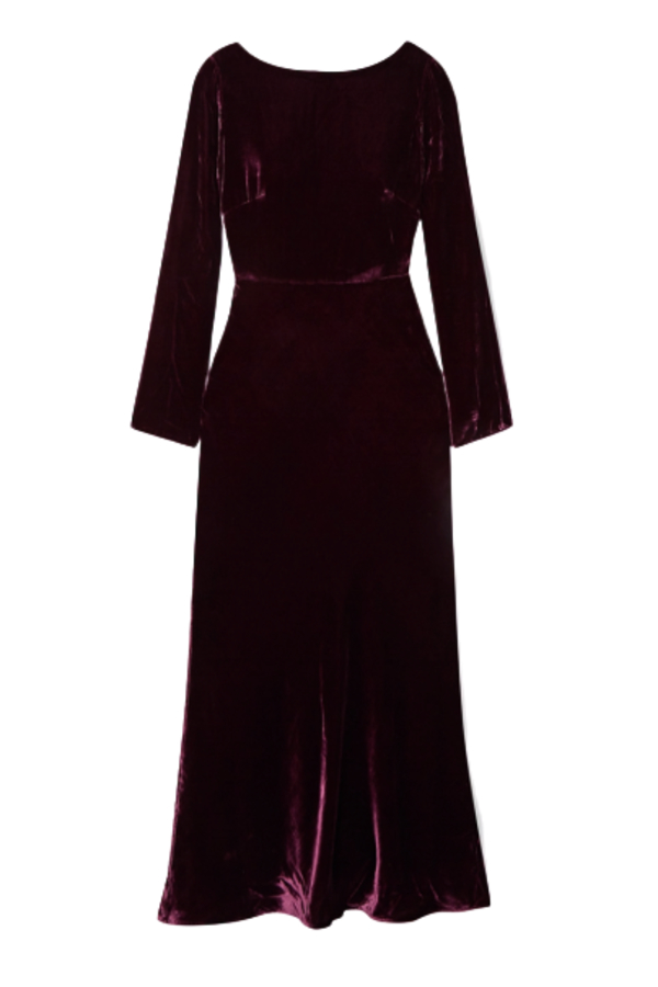 Saloni Tina Boat-Neck Velvet Dress