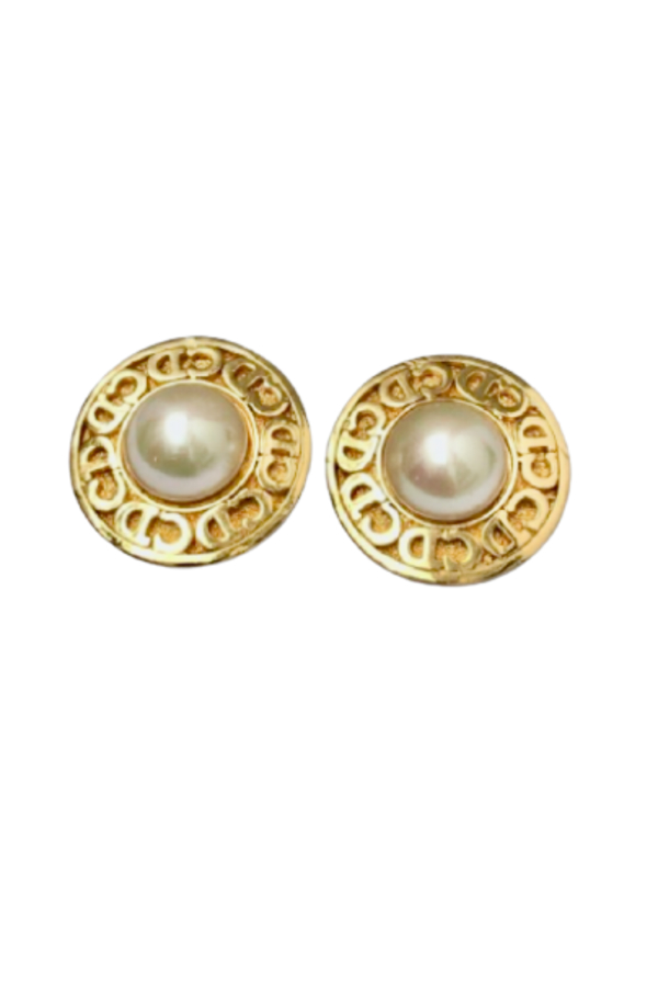 Christian Dior CD LOGO & FAUX PEARL EARRINGS 0 Preview Images