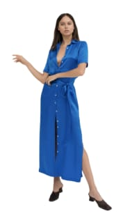 Marina London electric blue silk dree dress Preview Images