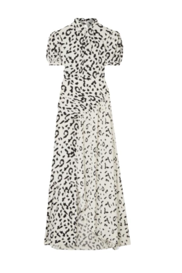 Self Portrait Open-back ruched leopard dress