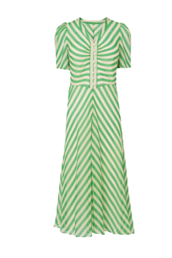L.K. Bennett Holzer green stripe dress