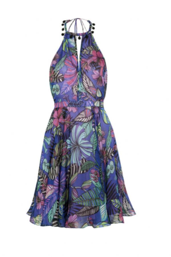 Matthew Williamson Kantuta Valley printed silk-chiffon halterneck mini dress