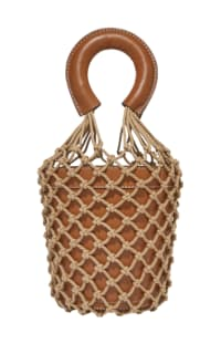 STAUD - MOREAU LEATHER AND MACRAME BAG