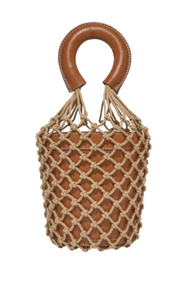 Staud Moreau Leather and Macrame Bag