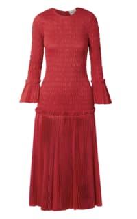 Khaite Pleated cotton-poplin dress Preview Images