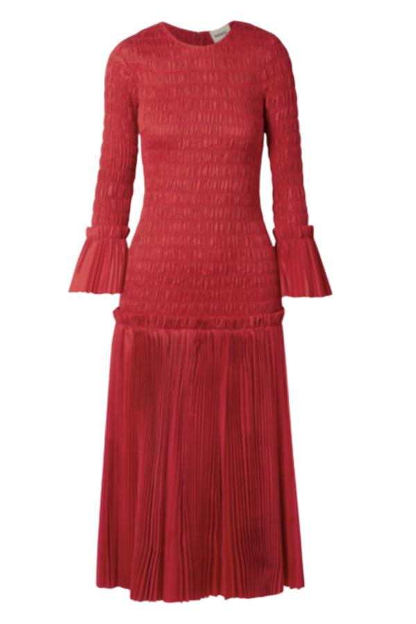 Khaite Pleated cotton-poplin dress