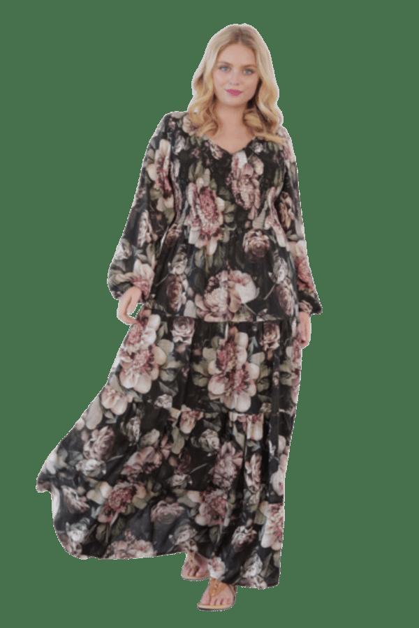 Image 1 of Anna Scholz silk shirred maxi dress