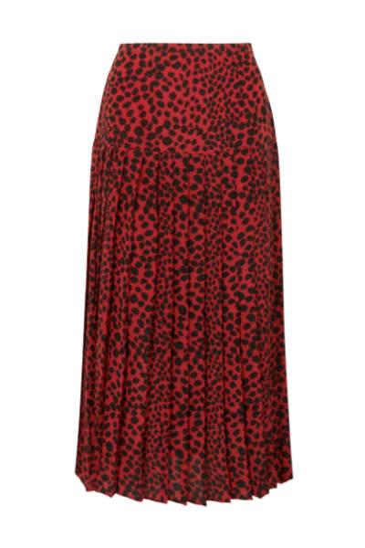 RIXO London Leopard pleat midi skirt
