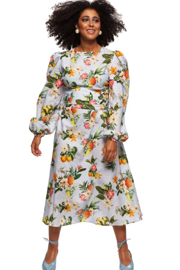 """LOUD BODIES """"Rosalind"""" floraL Linen Dress"""