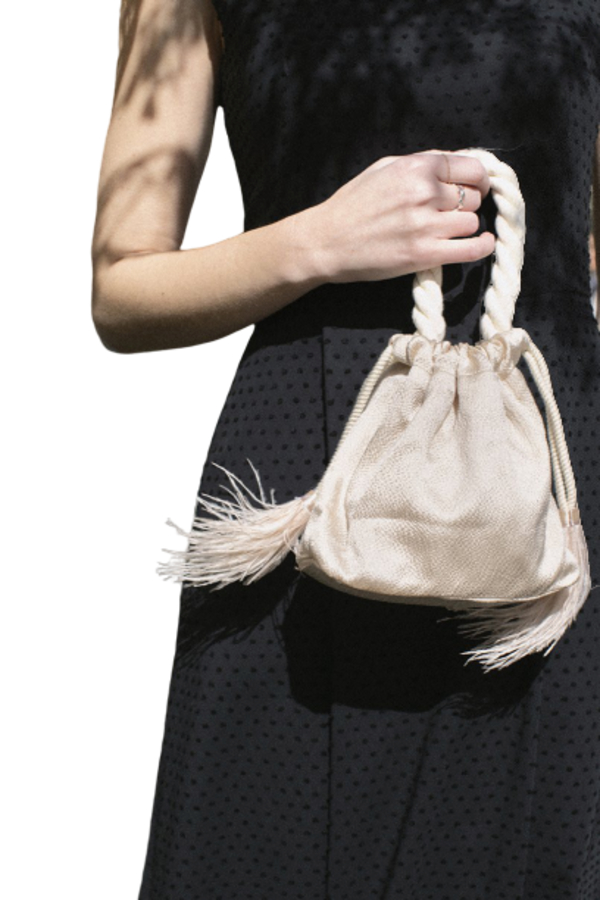 Isabelle Fox Greta silk and feather bag