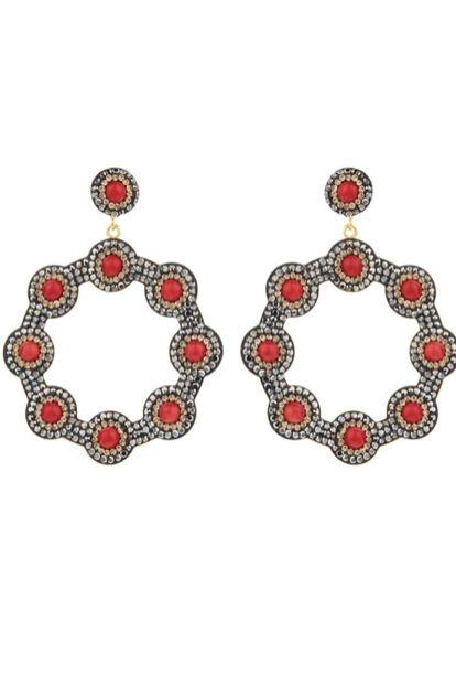 Soru London Onyx Red Hoop Earring 3 Preview Images