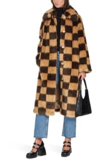 Stand Studio Nino Checked Faux Fur Coat 3 Preview Images