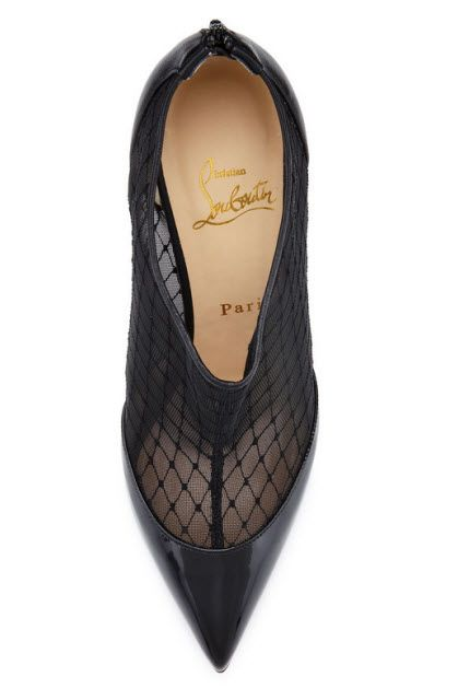 Christian Louboutin Filette patent-fishnet bootie 2 Preview Images
