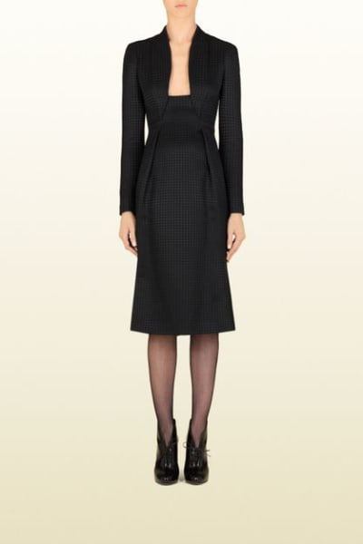 Gucci Houndstooth Open-Neck Dress 6