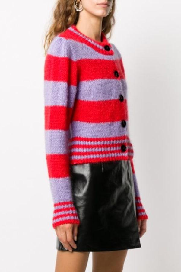 Image 3 of Alexa Chung striped cropped cardigan