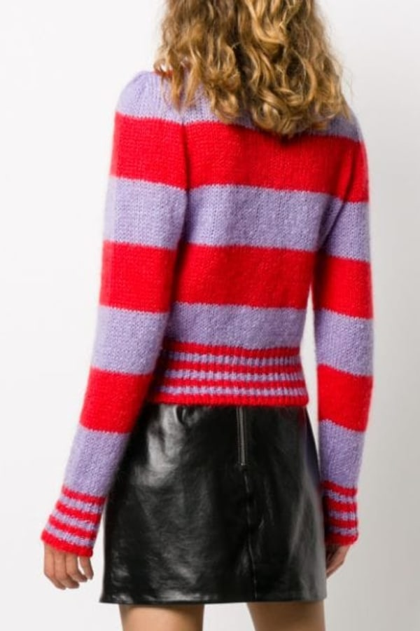 Image 2 of Alexa Chung striped cropped cardigan