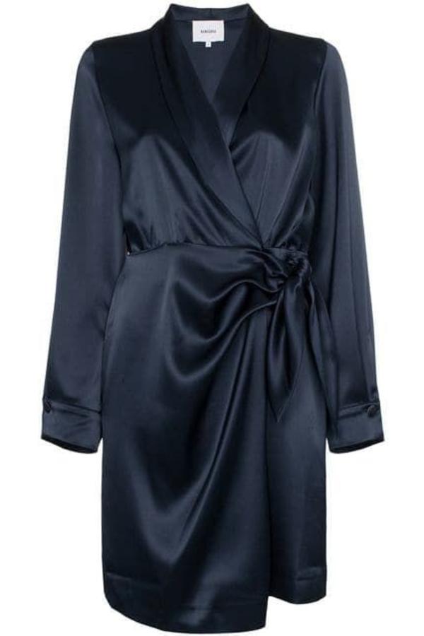 Nanushka Navy wrap dress