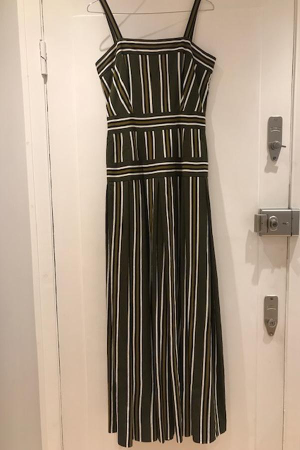 Martin Grant Pleated stripe long dress 3