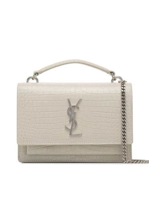 Saint Laurent White Sunset Mock Croc Cross-body
