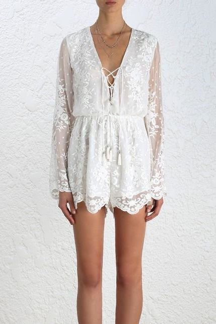 Zimmermann Roza Silk Veil Playsuit Preview Images