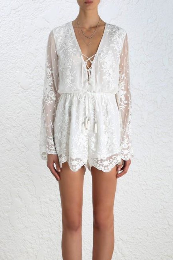 Zimmermann Roza Silk Veil Playsuit