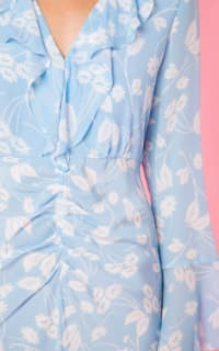 RIXO London Coleen – Abstract Daisy Blue V-Neck Dress 3 Preview Images