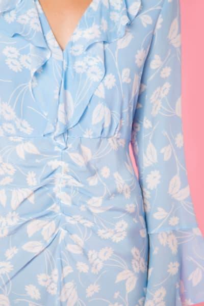 RIXO London Coleen – Abstract Daisy Blue V-Neck Dress 3