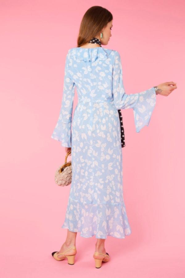 RIXO Daisy Blue V-Neck Dress 1 Preview Images
