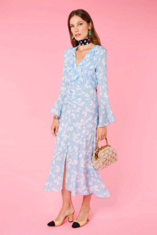 RIXO Daisy Blue V-Neck Dress 3 Preview Images