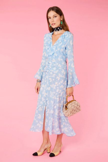 RIXO London Coleen – Abstract Daisy Blue V-Neck Dress Preview Images