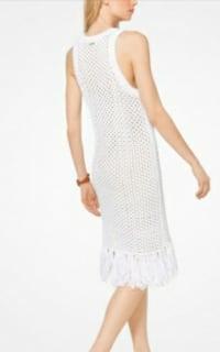 Michael Kors Fringe Trim Cotton-Blend Knit Dress 3 Preview Images