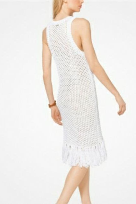 Michael Kors Fringe Trim Cotton-Blend Knit Dress 3 Preview Images